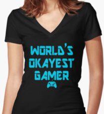 World's Okayest Gamer Funny Gaming Women's Fitted V-Neck T-Shirt