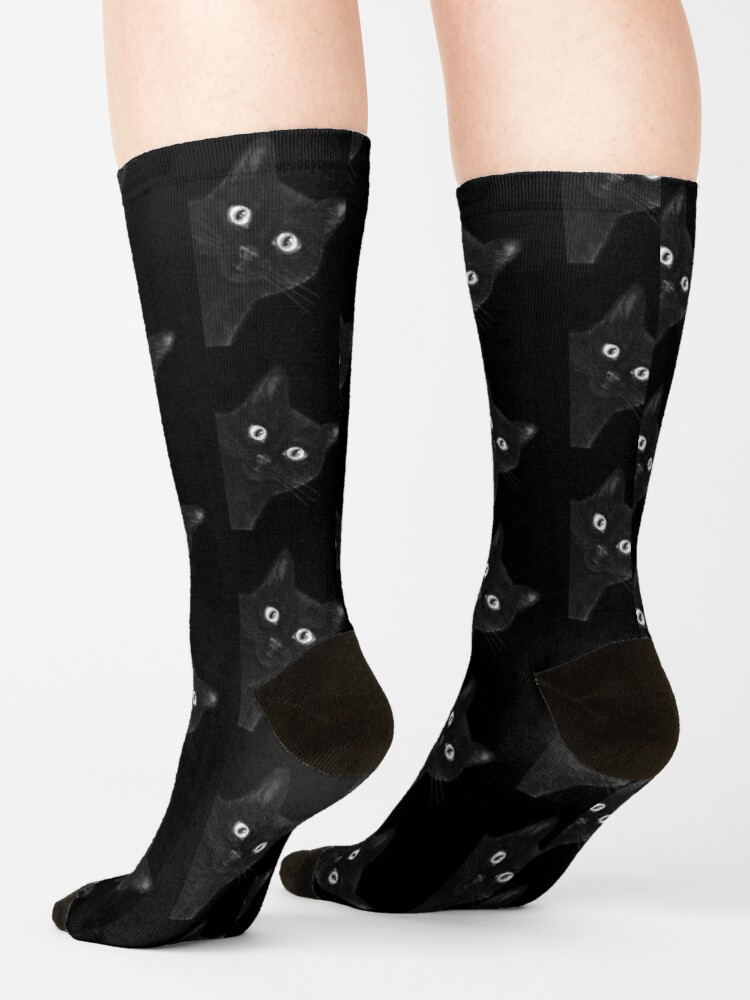 Alternate view of Black cat on black Socks