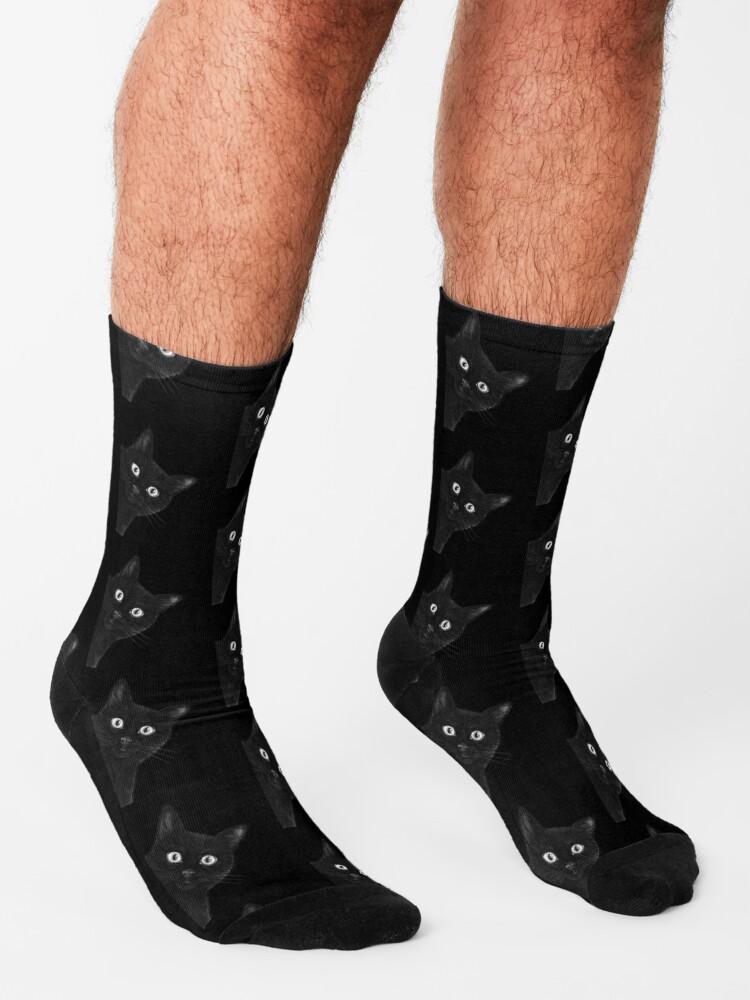 Alternate view of Black cat on black Socks