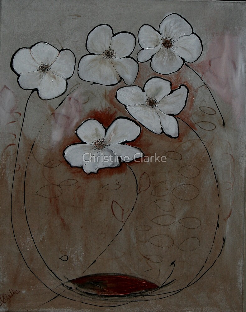 White Flowers in Gold by Christine Clarke