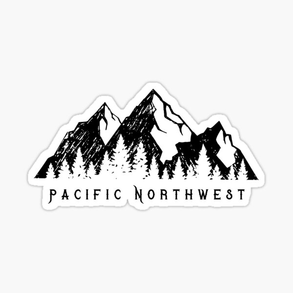 Pacific Northwest Mountain Range and Pine Trees 2  Sticker