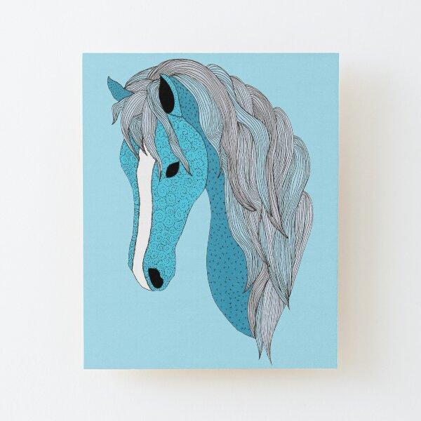 Blue Pony 3 - Blue Lagoon Wood Mounted Print