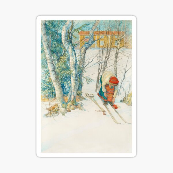 Putting on Skiis by Carl Larsson Sticker