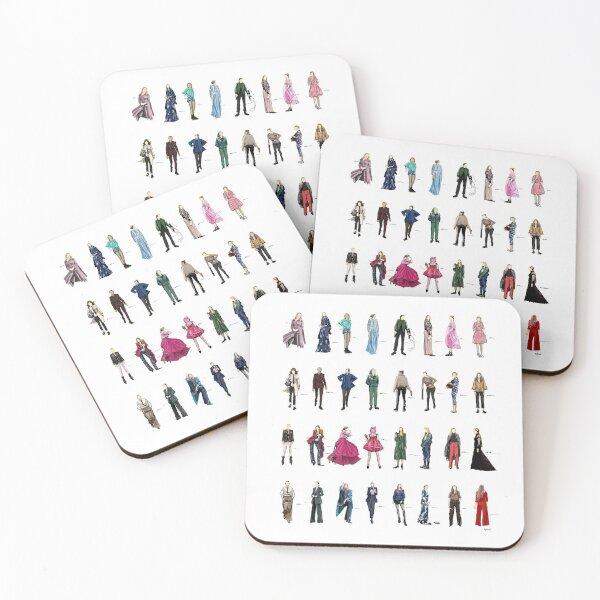 Killing eve villanelle fashion looks version3.1 Coasters (Set of 4)