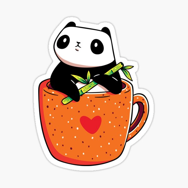 Panda in a Mug Sticker