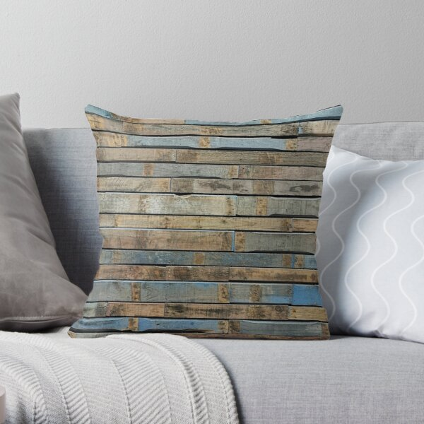 Distressed wood - Blue and brown Throw Pillow