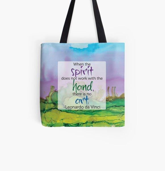 Inspirational Quote - Alcohol Ink - Da Vinci All Over Print Tote Bag
