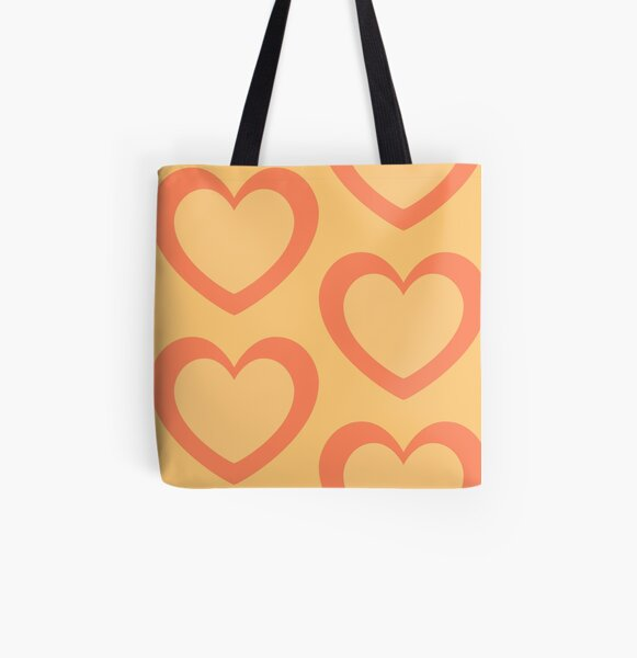 Peachy Love Giant Hearts All Over Print Tote Bag