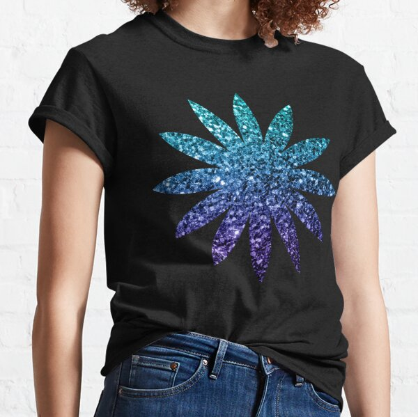 Beautiful Aqua blue Ombre glitter sparkles Classic T-Shirt