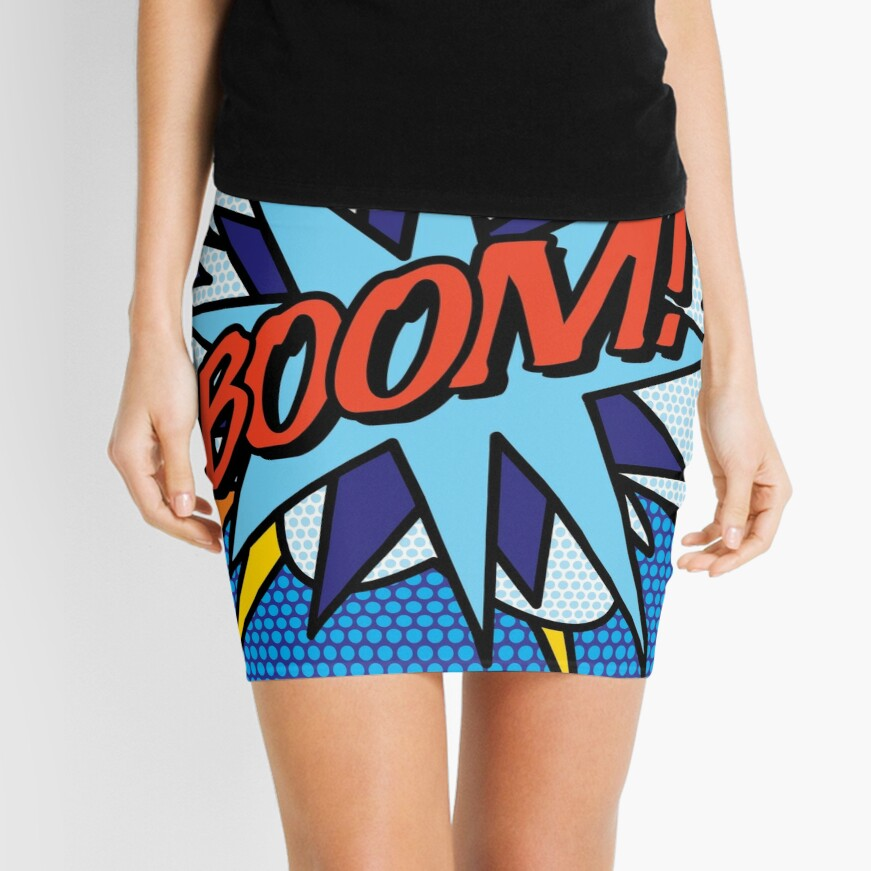 BOOM Comic Book Pop Art Modern Fun Retro Mini Skirt