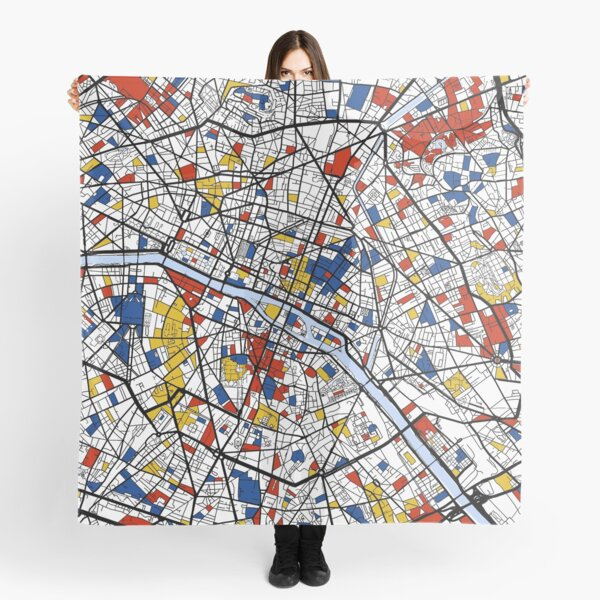 Paris Mondrian map Scarf