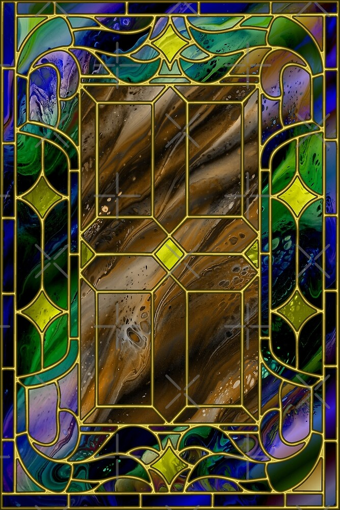 Glass Door - fluid acrylic digital painting; stained-glass window by Kathryn Andersen