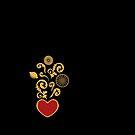 Sicilian Heart - Lemons, Sicilian Decorated Cart, Sacred Decorated Heart  by campobellezza