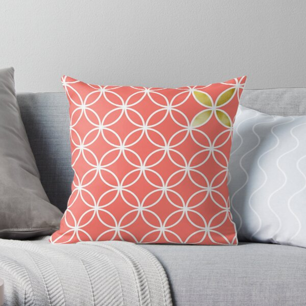 Living Coral retro pattern Throw Pillow