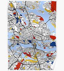 Stockholm Mondrian Karte Poster