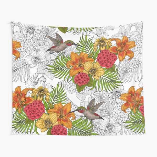 Hummingbirds and tropical bouquet Tapestry