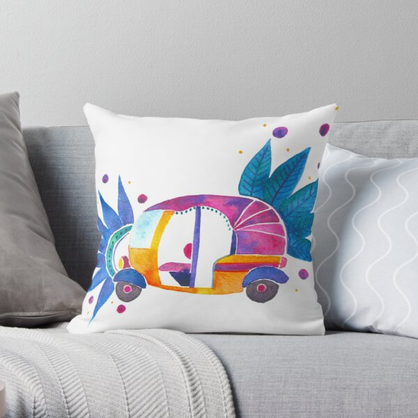 Groovy auto-rickshaw Throw Pillow