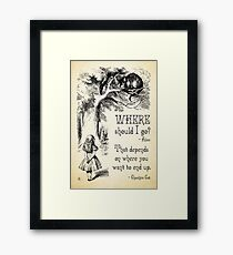 Alice in Wonderland - Cheshire Cat Quote - Where Should I go? - 0118 Framed Print