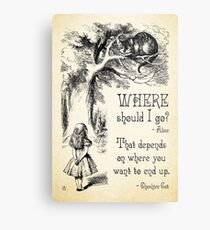 Alice in Wonderland - Cheshire Cat Quote - Where Should I go? - 0118 Metal Print