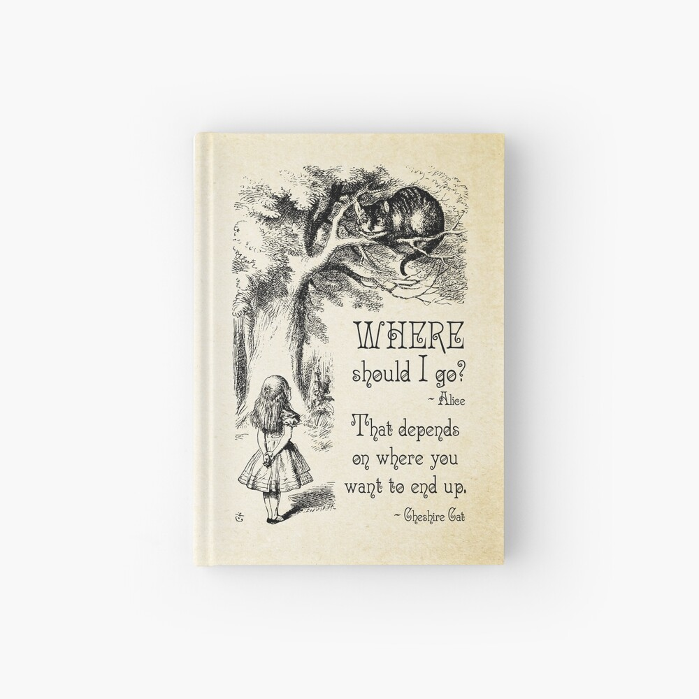 Alice in Wonderland - Cheshire Cat Quote - Where Should I go? - 0118 Hardcover Journal