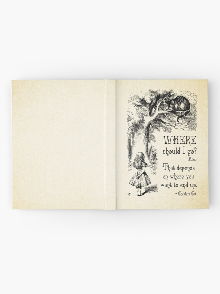 Alternate view of Alice in Wonderland - Cheshire Cat Quote - Where Should I go? - 0118 Hardcover Journal