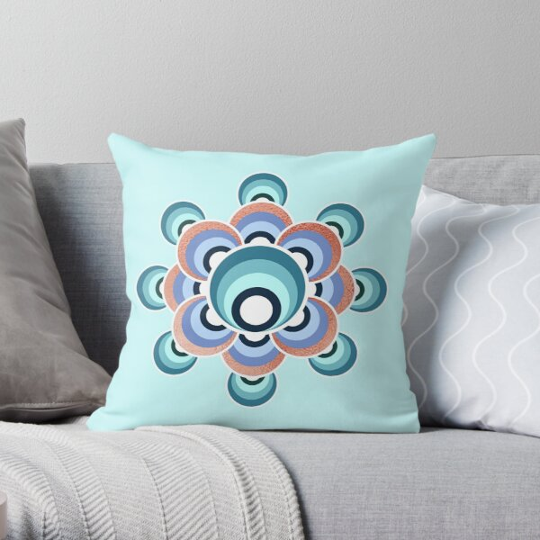 70's aqua flower Throw Pillow
