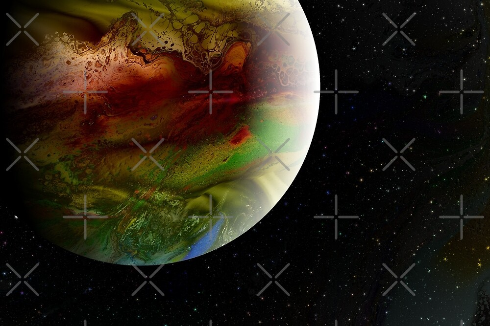 Summer in the Long Year - fluid acrylic painting, digital art, planet art by Kathryn Andersen
