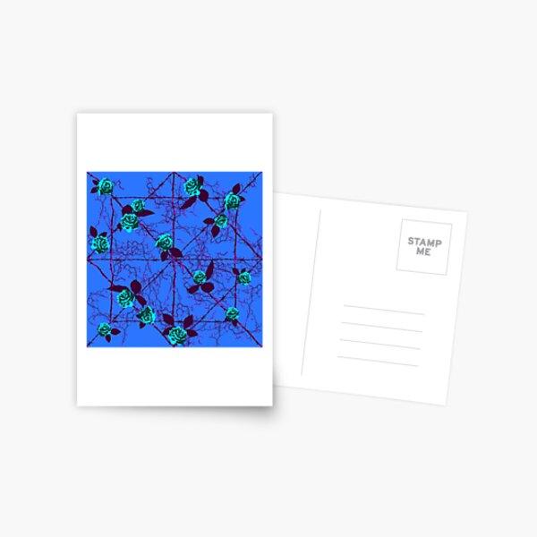 Barbed Rose - Blue Postcard
