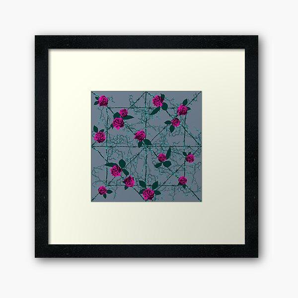 Barbed Rose - Grey Framed Art Print