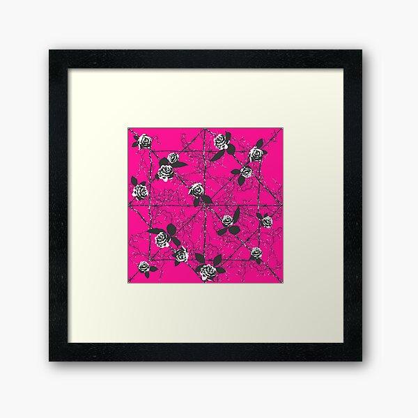 Barbed Rose - Pink and White Framed Art Print