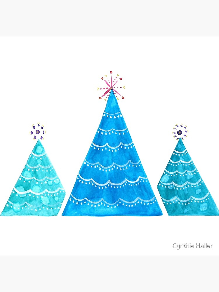 Blue Christmas trees by cynhaller