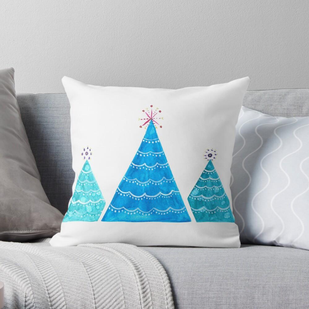 Blue Christmas trees Throw Pillow