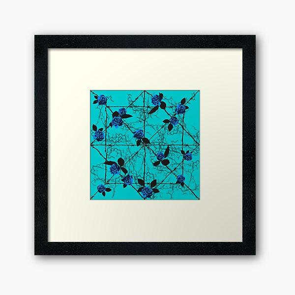 Barbed Rose - Turquoise Framed Art Print