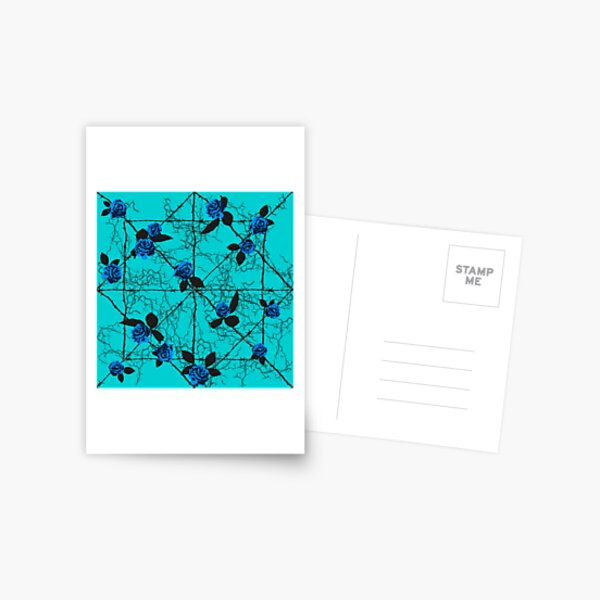 Barbed Rose - Turquoise Postcard