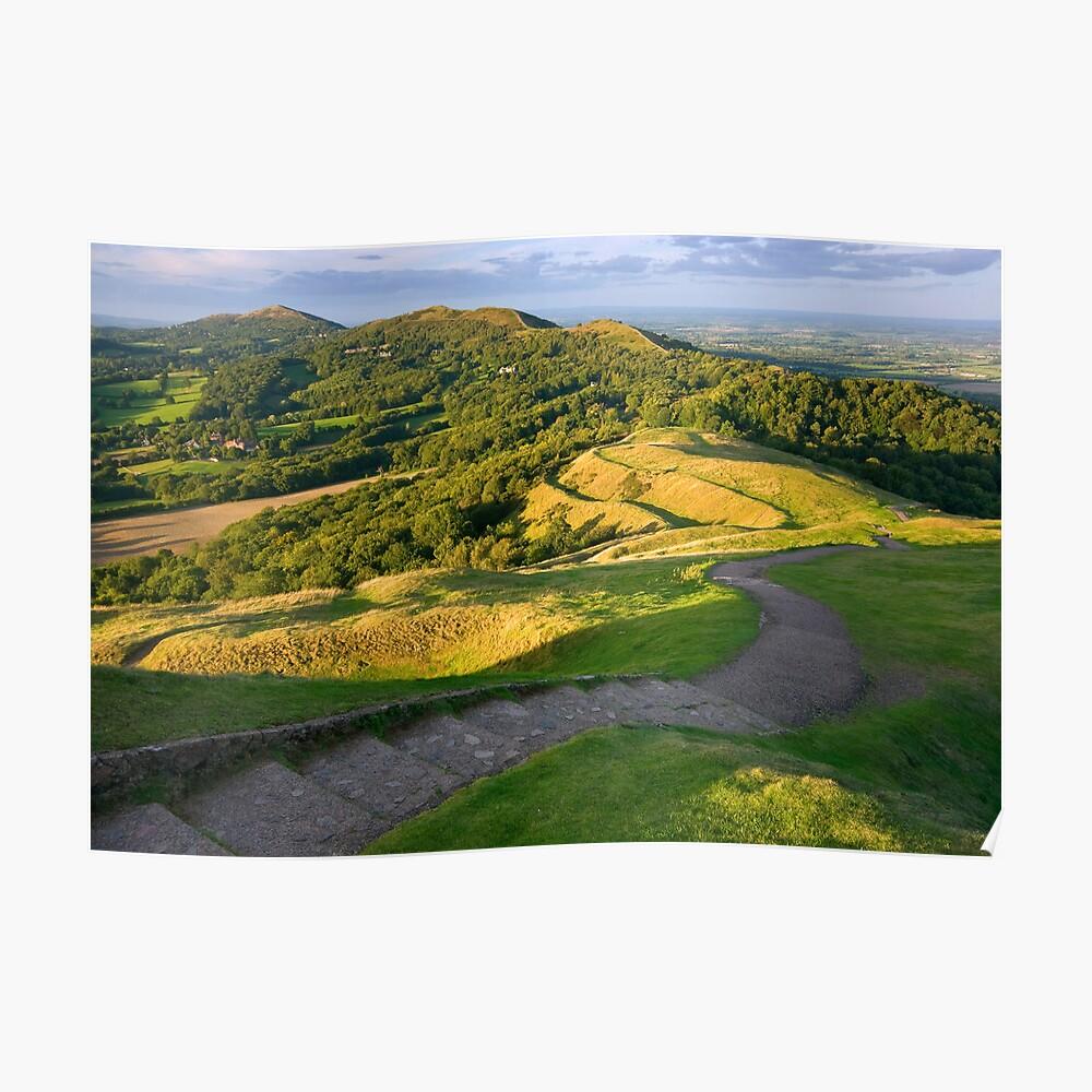 Malvern Hills : curving down Poster