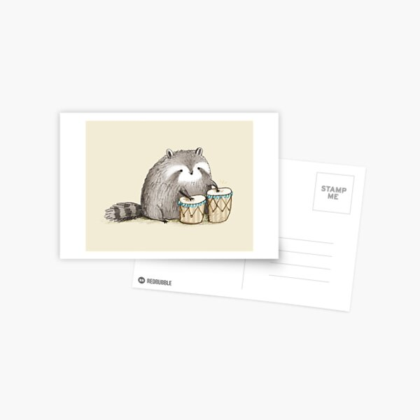 Raccoon on Bongos Postcard