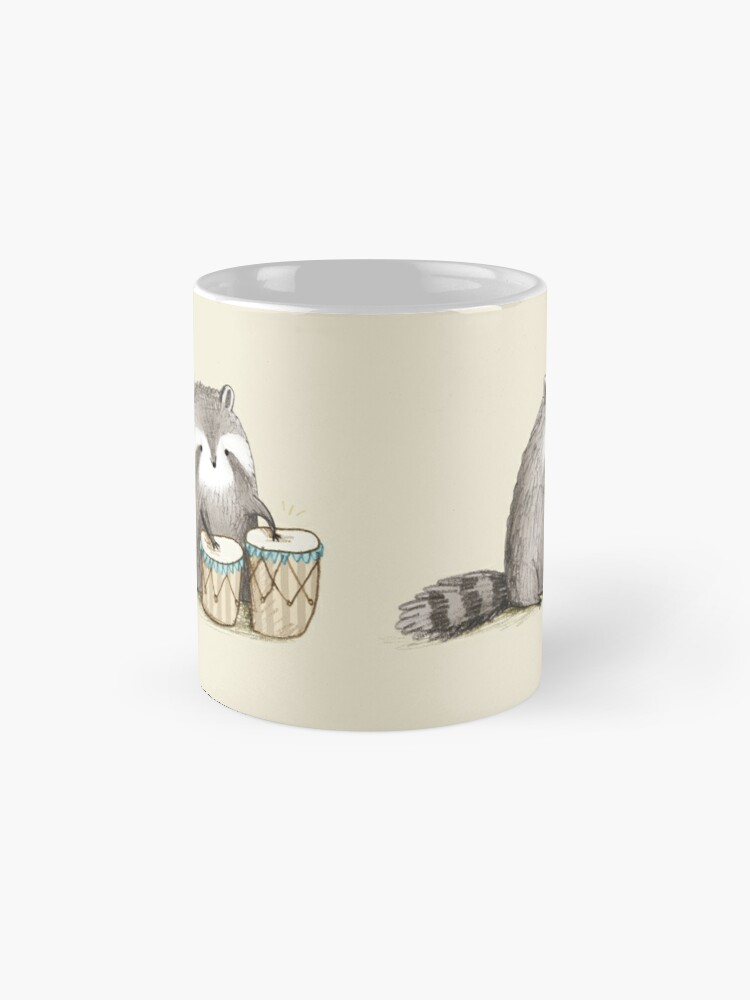 Alternate view of Raccoon on Bongos Mug