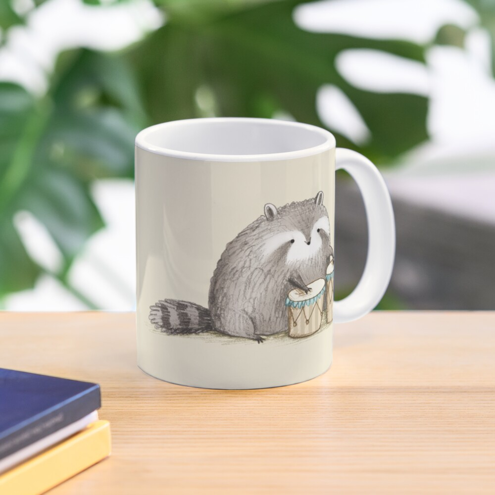 Raccoon on Bongos Mug