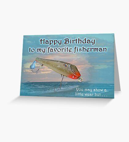 Fisherman Birthday Card - Fishmaster Vintage Fishing Lure Greeting Card