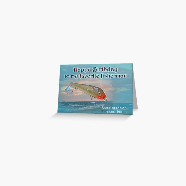Fisherman Birthday Card - Fishmaster Vintage Fishing Lure Greeting Card