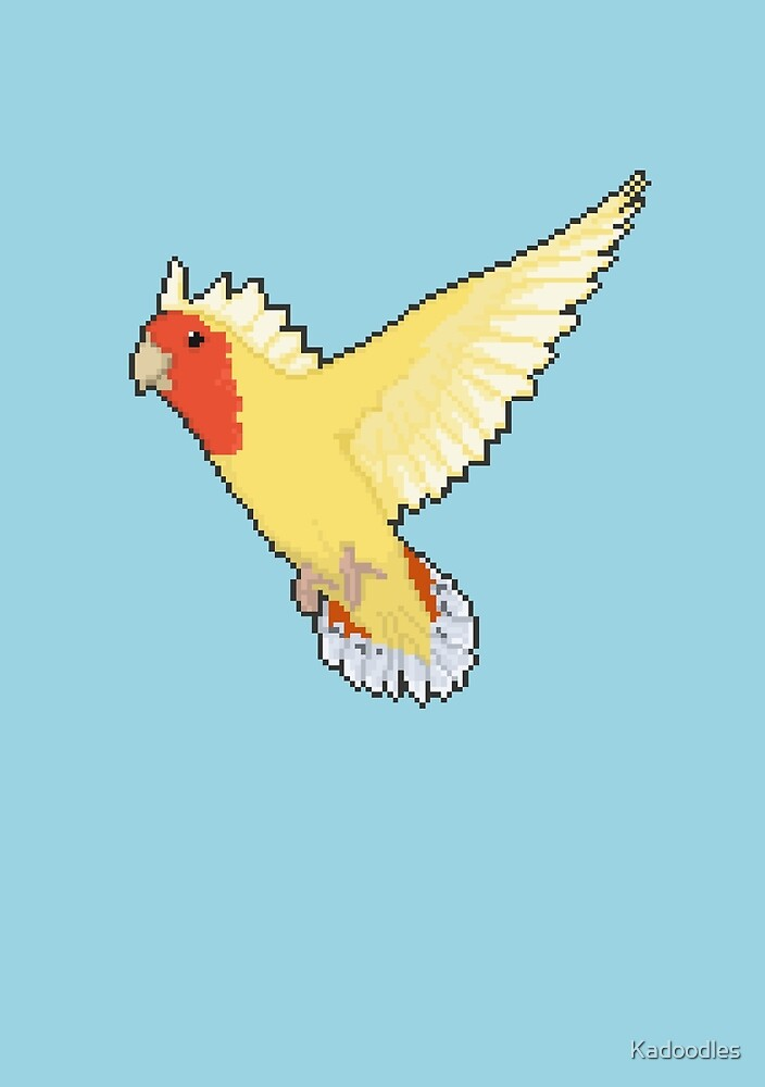 Pixel / 8-bit Parrot: Peach-faced Lovebird by Kadoodles