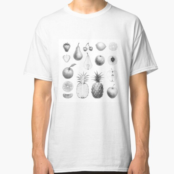 fresh fruits in black and white Classic T-Shirt