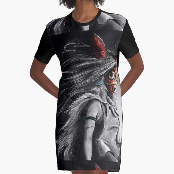 Fury of the Princess Anime Digital Painting Graphic T-Shirt Dress