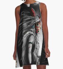 Mononoke Wolf Anime Tra Digital Painting A-Line Dress