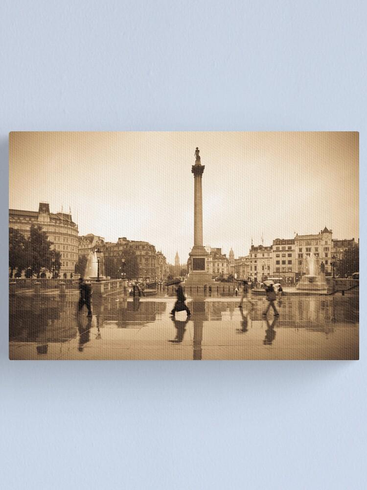 Alternate view of London. Trafalgar Square in the rain. Canvas Print