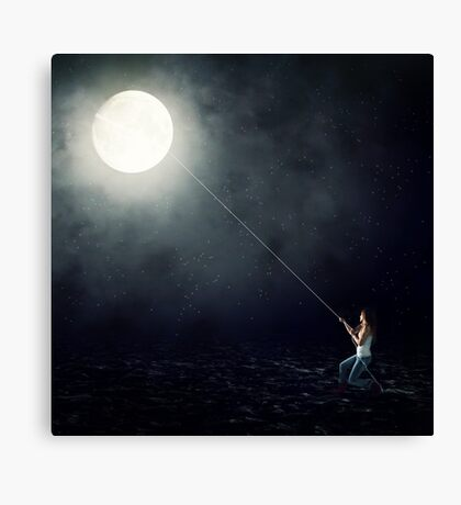 Moon Fishing Canvas Print