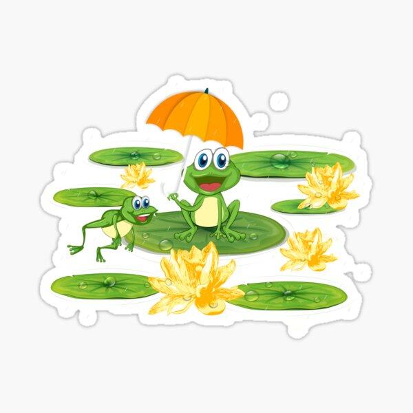 Frogs Enjoying rain in Lily Pond Sticker