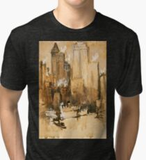 Vintage Cityscape and Ocean Liner Watercolour painting Tri-blend T-Shirt
