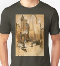 Vintage Cityscape and Ocean Liner Watercolour painting T-Shirt