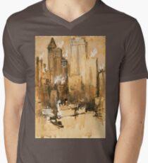 Vintage Cityscape and Ocean Liner Watercolour painting Men's V-Neck T-Shirt